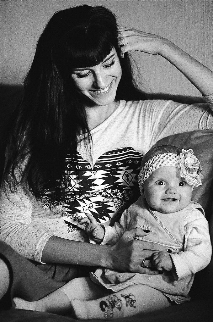 Young Mother with hey Infant Baby Girl | Black and White Portrait by Yuliia Barbashova