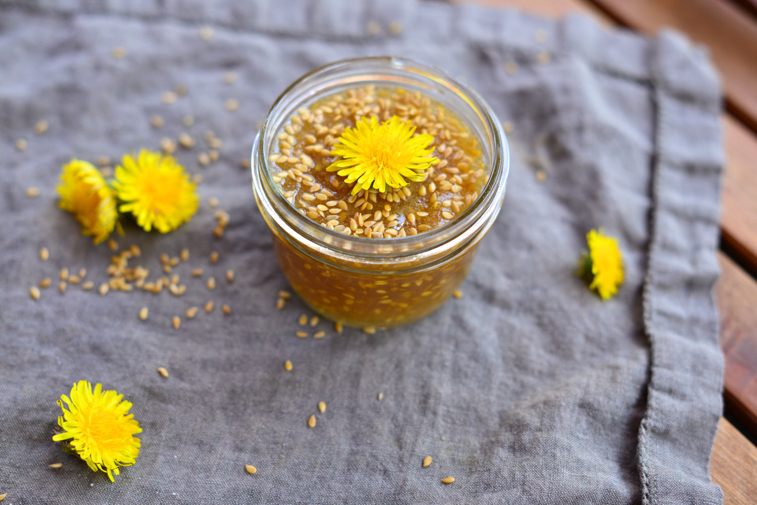 Wholesome Linen Blog - Dandelion Flower & Flax Seed Jam Recipe