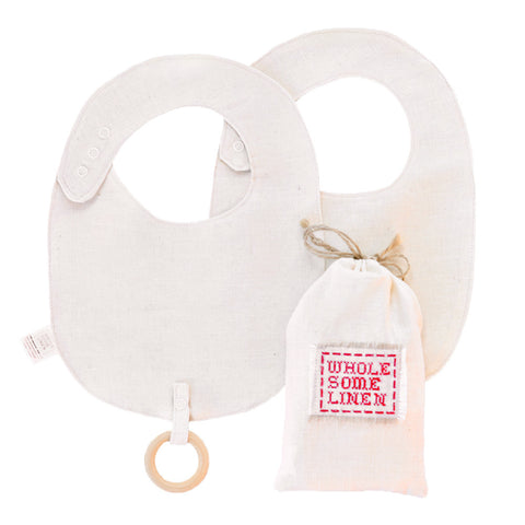 Organic Linen Bib & Wooden Teether Gift Set
