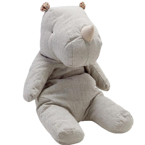 Pure Linen Soft Toy Baby Rhinoceros in Grey - Wholesome Linen
