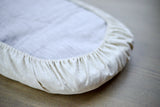 Oval Bassinet Mattress Cover Fitted Sheet from Waterproof Waxed Linen - Wholesome Linen