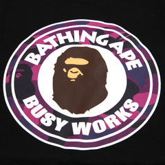 A Bathing Ape Kids Color Camo Busy Works Tee (Black/Purple)