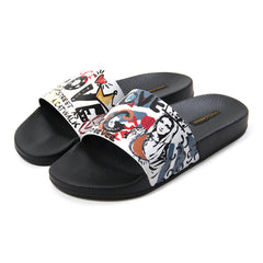 Dolce & Gabbana Printed Calfskin and Rubber Sliders (White/Multi)