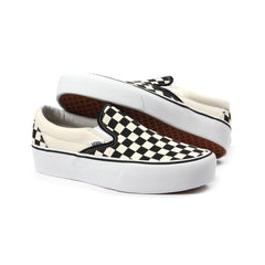 Vans Womens Classic Slip-On Platform (Black/White Checkered)