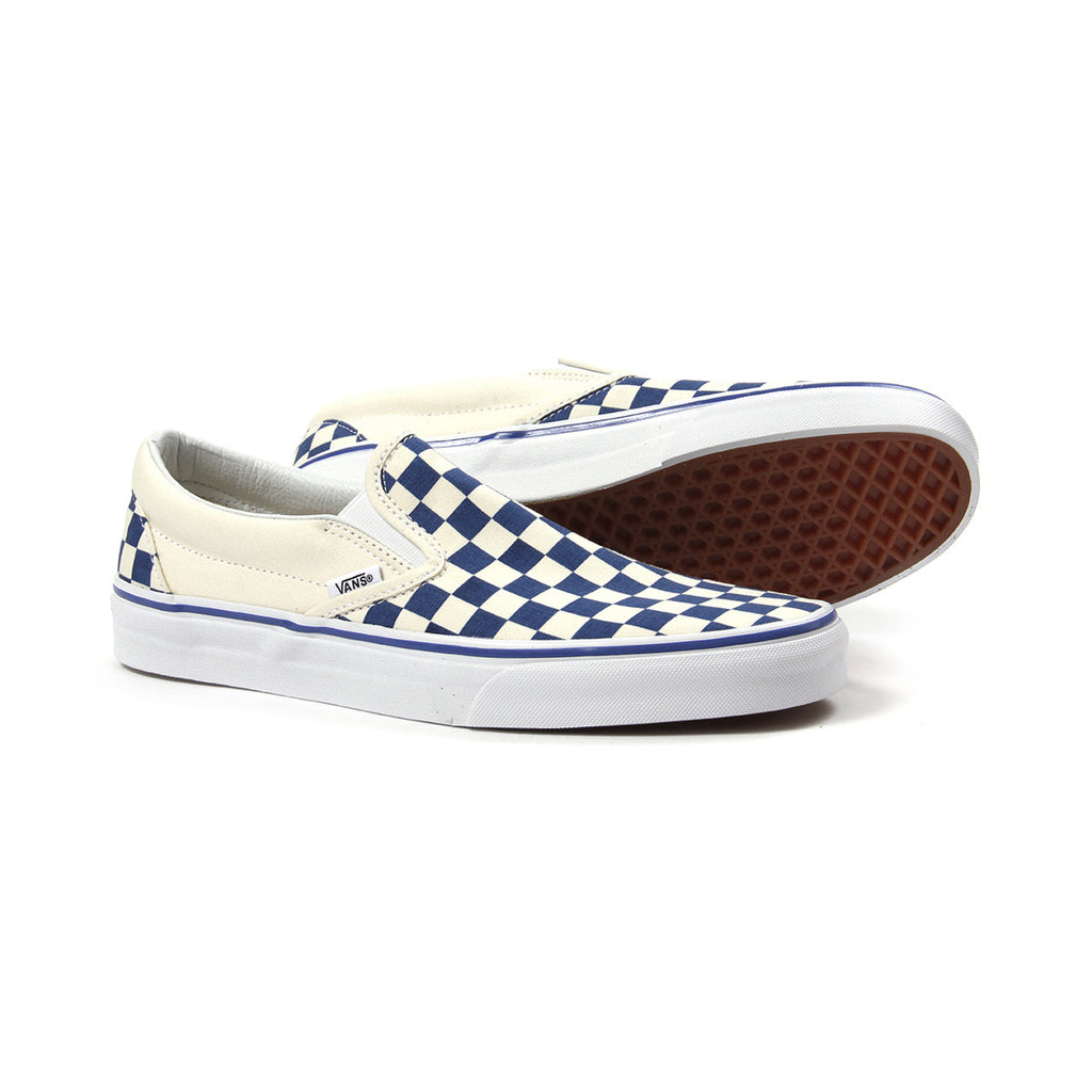 tênis vans classic slip on checkerboard true white