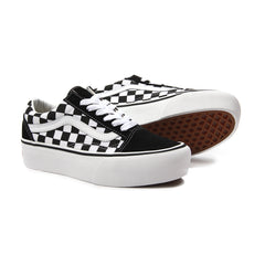 Vans Womens Old Skool Platform (Black Checkerboard)