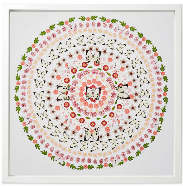 1. Flower and Butterfly Circle, pink