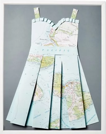 Folded Paper Map Sun Dress: Hawaii