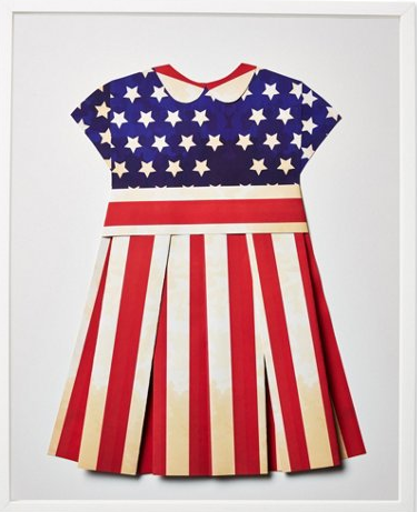 Folded Paper US Flag Dress: US Vintage Flag