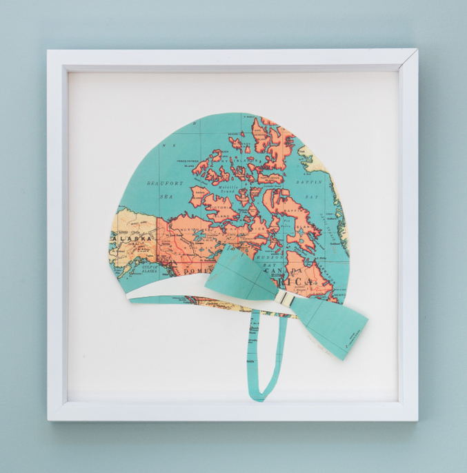 Folded Paper Map Swim Cap: Global Map