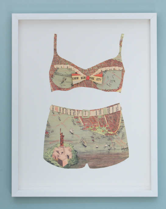 Folded Paper Map Bathing Suit: New York Sites