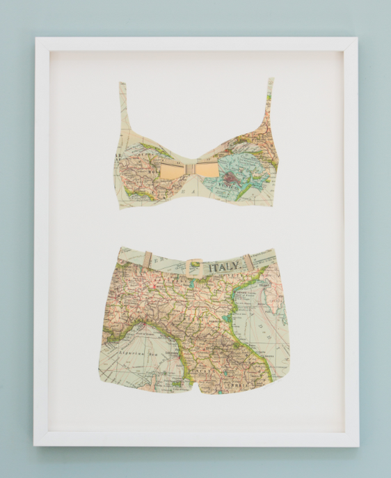 Folded Paper Map Bathing Suit: Italy