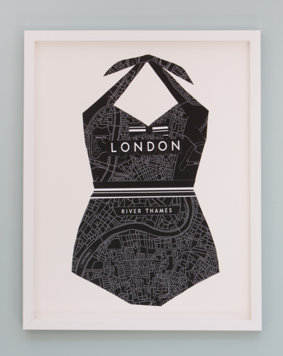 Folded Paper Map Bathing Suit: London (black)