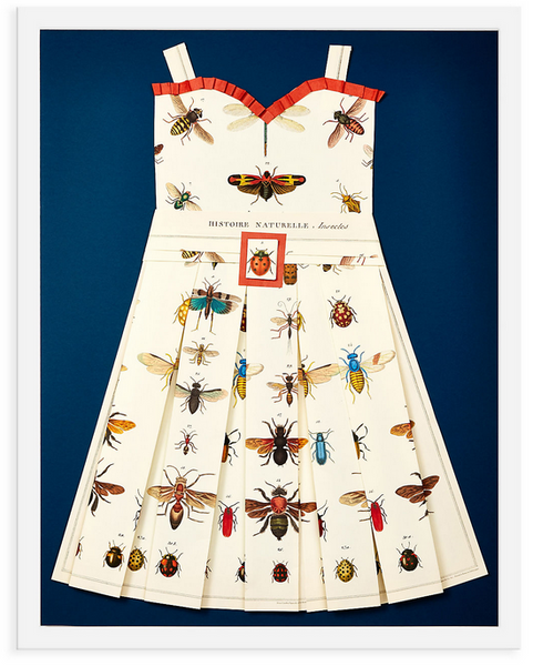Folded  Paper Dress: Lady bugs and bees