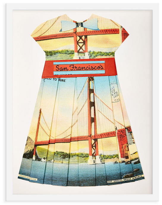 Folded Paper Dress: San Francisco Golden Gate Bridge