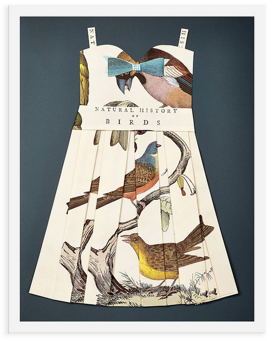 Folded  Paper Dress: Birds