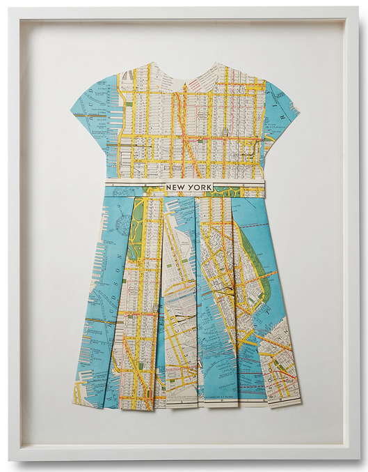 Folded  Paper Dress: New York Map