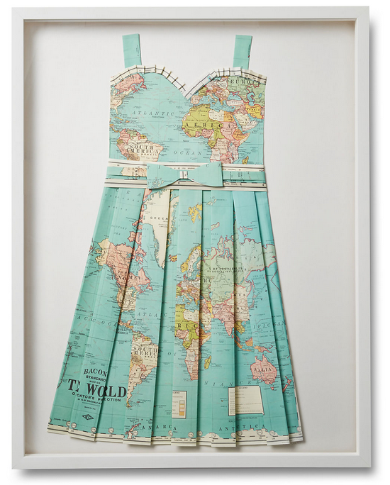 Folded Paper Map Sun Dress: Global Map