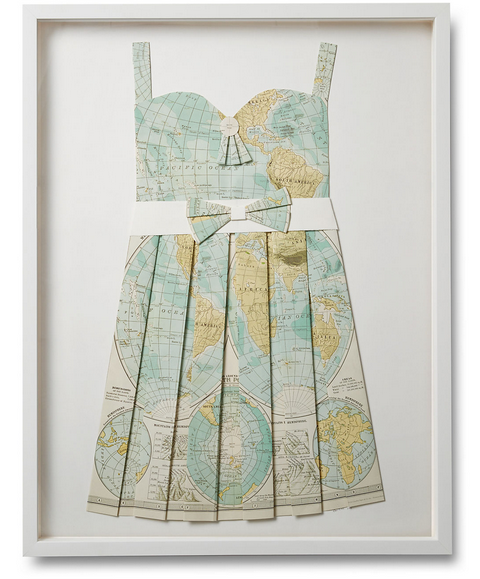Folded Paper Map Sun Dress:  Pale Blue Global Map