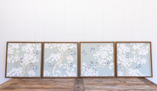 Grey Chinoiserie Collage: Four Panels