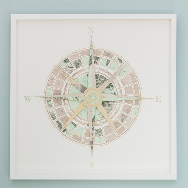 Paper Collage Compass: San Francisco Nautical Maps
