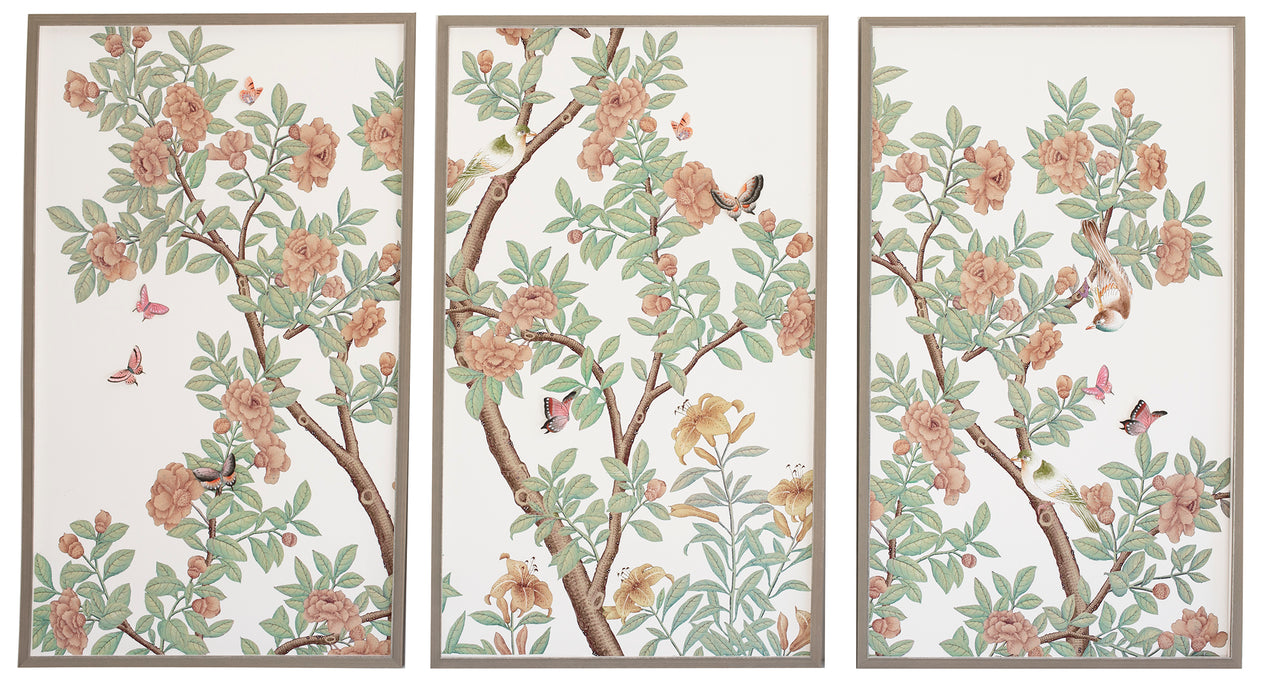 Chinoiserie triptych: peach flowers