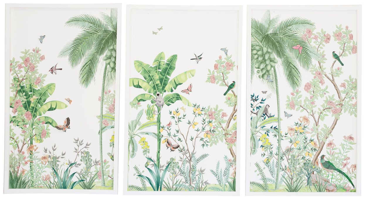 Chinoiserie triptych: Tropical