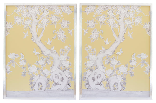2 Diptych Chinoiserie Collage:  Yellow