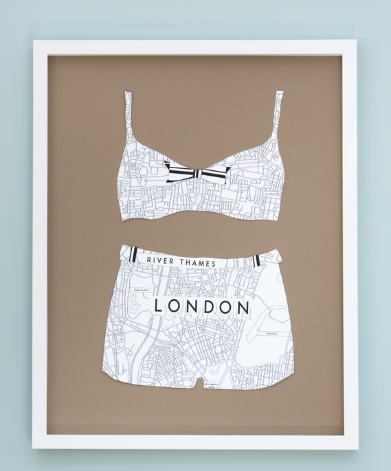 Folded Paper Map Bikini: London