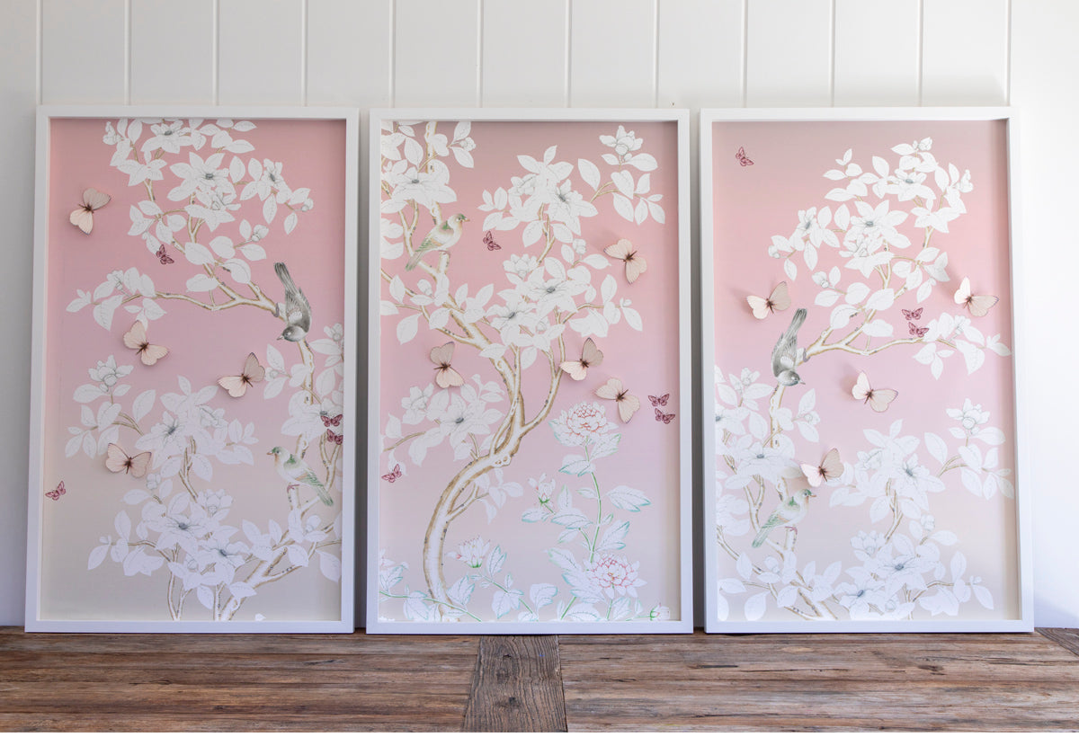 Chinoiserie Collage: 3 Ombre Panels