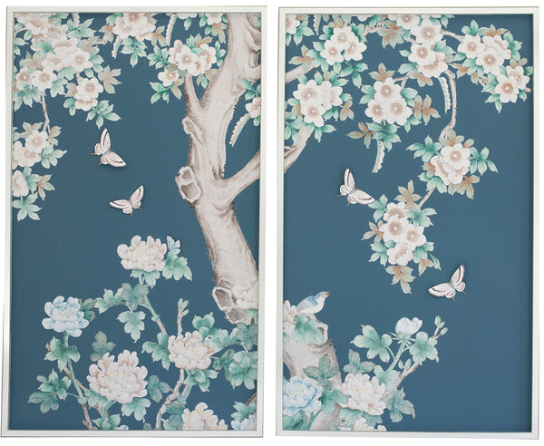 2 Diptych Chinoiserie Collage:  Blue