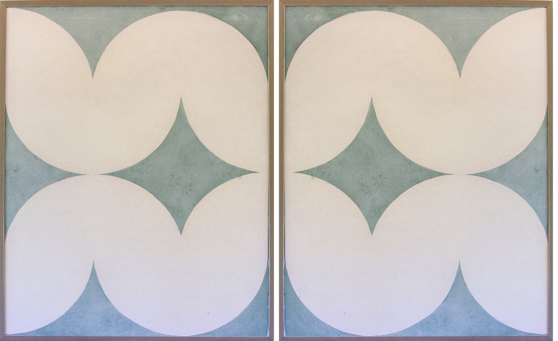 2 Pale green/blue Abstract Panels-special size + Floral bathing suit set (20% discount)