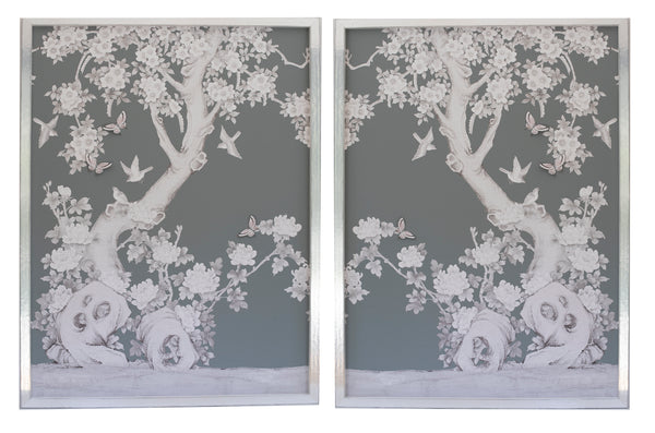 2 Diptych Chinoiserie Collage:  Grey