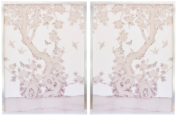 Diptych Chinoiserie Collage:  Palest Pink