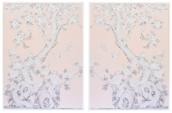 2 Diptych Chinoiserie Collage:  Pink