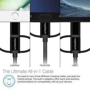 Naztech Cable 3-in-1 Micro USB + Lightning + USB-C