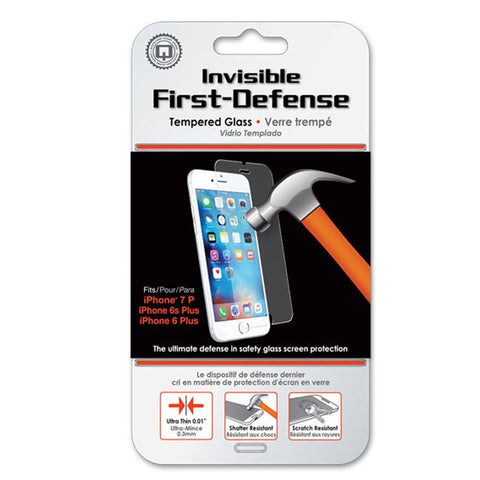 Qmadix Invisible First-Defense Apple iPhone 8 Plus, iPhone 7 Plus, iPhone 6s/6 Plus Protector de Pantalla Cristal Templado