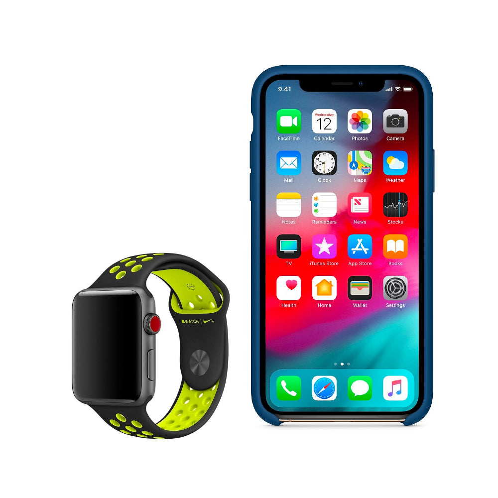 Bundle Apple Silicone Case iPhone XS + Apple Correa Nike sport 42MM