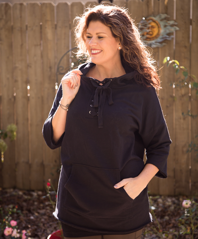 Lace Up Dolman Hoodie