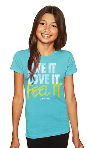 Youth Feet It Teal Tee