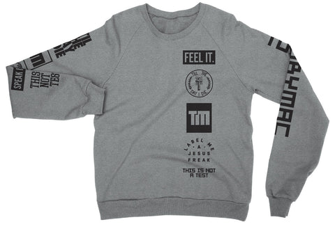 Logos Grey Crewneck Long Sleeve