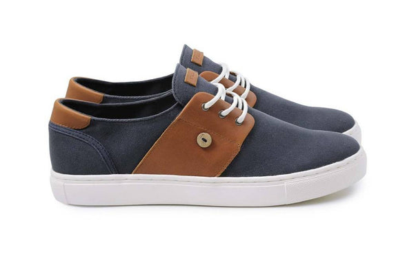 CYPRESS LONE Cotton/Leather - Navy/Tawny