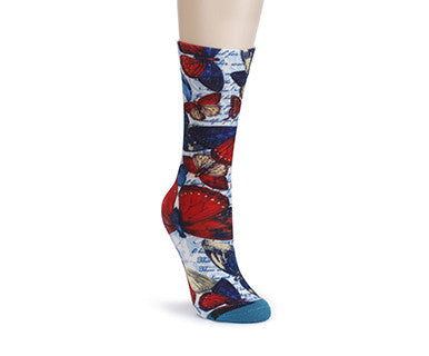 TC Mid Calf Sock - American Butterflies - Pi Style Boutique - Demdaco - Accessories - 1