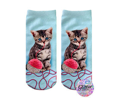 Glittery Kitten - Living Royal No Show Socks