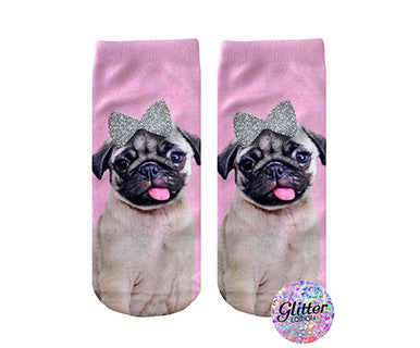 Glitter Bow Pug - No Show Socks