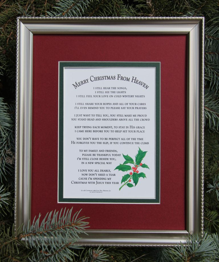 merry christmas from heaven matte framed poem pi style boutique mooneytunes gifts - Merry Christmas From Heaven Poem