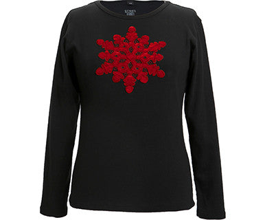 Appliqué Velvet Snowflake (Black/Red) - L - Pi Style Boutique - Green 3 - Accessories - 1