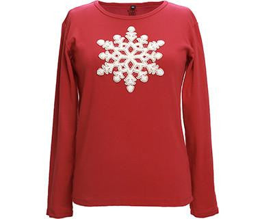 Appliqué Velvet Snowflake - Green 3 Long Sleeve Top