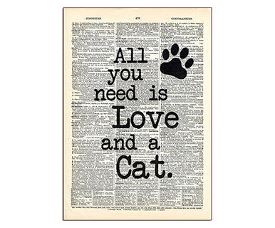 All You Need Is Love And A Cat - Pi Style Boutique - Vintage Dictionary Art - Gifts & Decor - 1