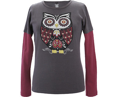 Retro Owl - Green 3 Top
